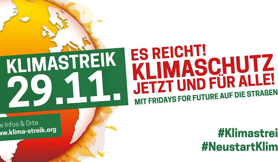 Für den Klimaschutz am 29.11. auf die Strasse!